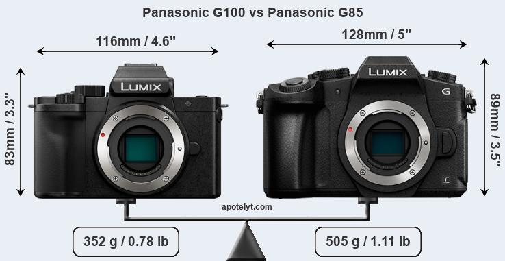 Size Panasonic G100 vs Panasonic G85