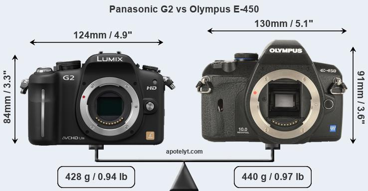 Compare Panasonic G2 vs Olympus E-450