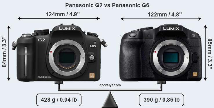 Size Panasonic G2 vs Panasonic G6