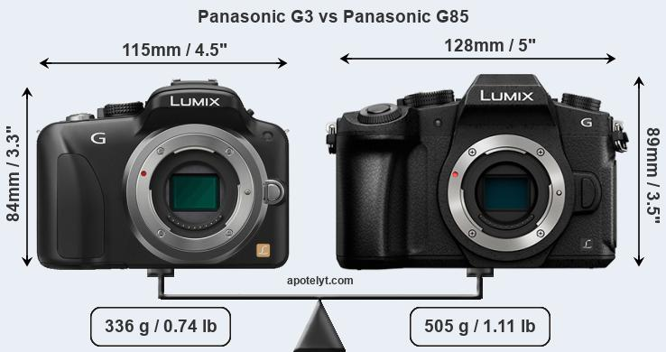 Size Panasonic G3 vs Panasonic G85