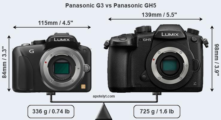 Size Panasonic G3 vs Panasonic GH5