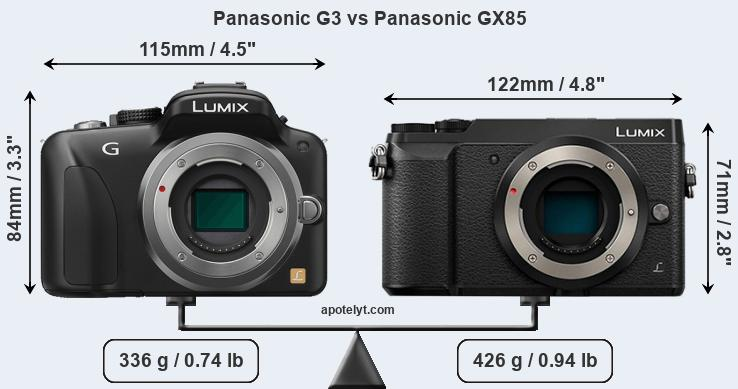 Size Panasonic G3 vs Panasonic GX85