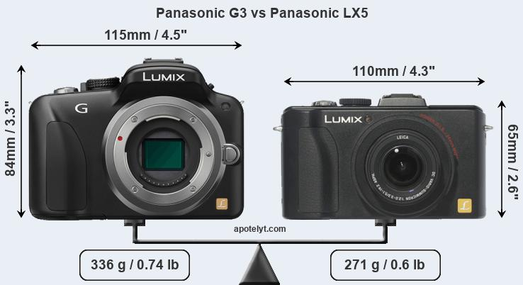 Size Panasonic G3 vs Panasonic LX5