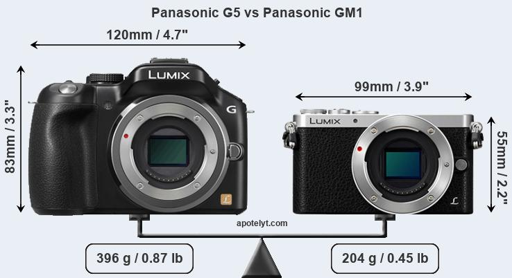 Size Panasonic G5 vs Panasonic GM1