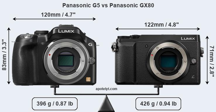 Size Panasonic G5 vs Panasonic GX80