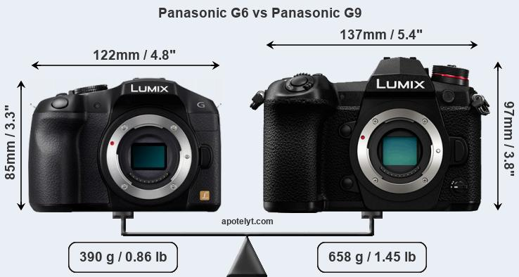 Size Panasonic G6 vs Panasonic G9