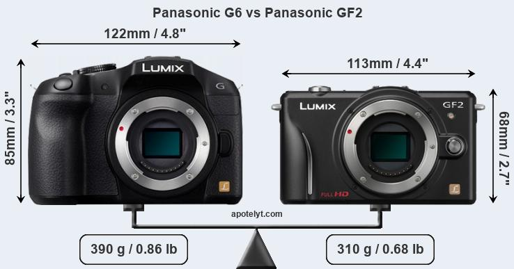 Size Panasonic G6 vs Panasonic GF2