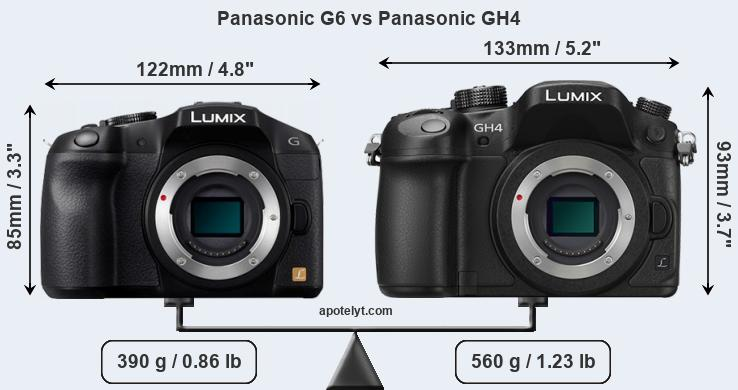 Size Panasonic G6 vs Panasonic GH4