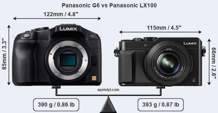 Size Panasonic G6 vs Panasonic LX100