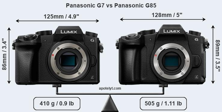 Size Panasonic G7 vs Panasonic G85