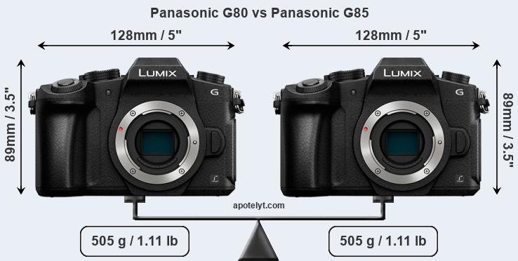 Size Panasonic G80 vs Panasonic G85