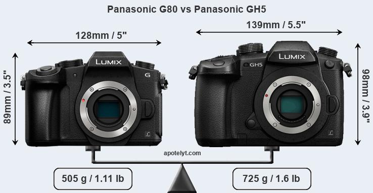 Size Panasonic G80 vs Panasonic GH5