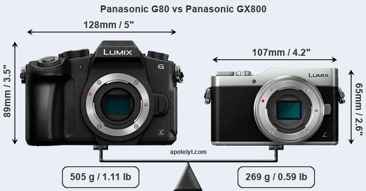 Size Panasonic G80 vs Panasonic GX800