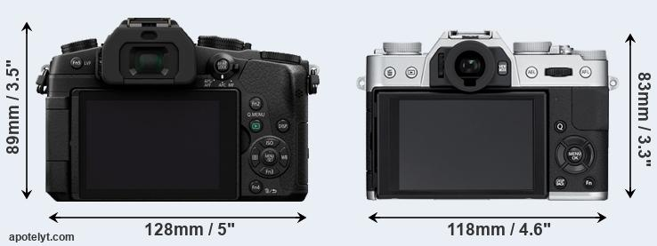 G85 and X-T10 rear side