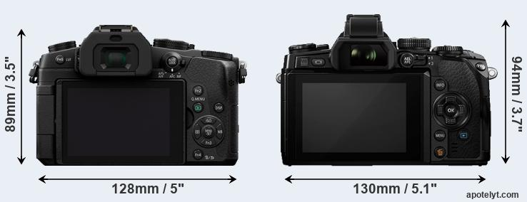 G85 and E-M1 rear side