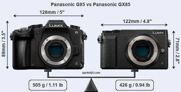 Size Panasonic G85 vs Panasonic GX85