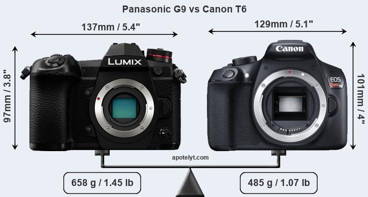 Compare Panasonic G9 and Canon T6