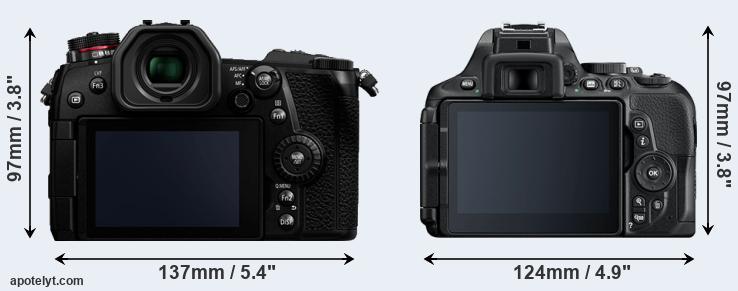 G9 and D5600 rear side