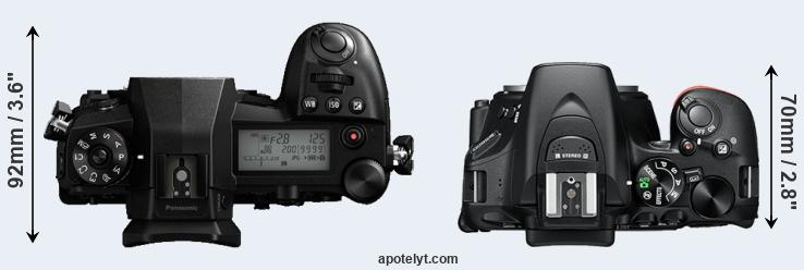 G9 versus D5600 top view