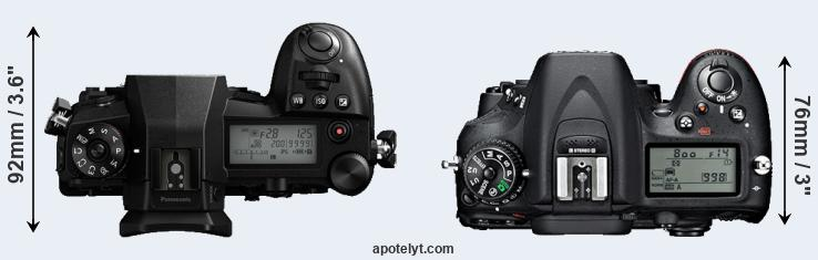 G9 versus D7100 top view