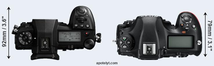 G9 versus D850 top view