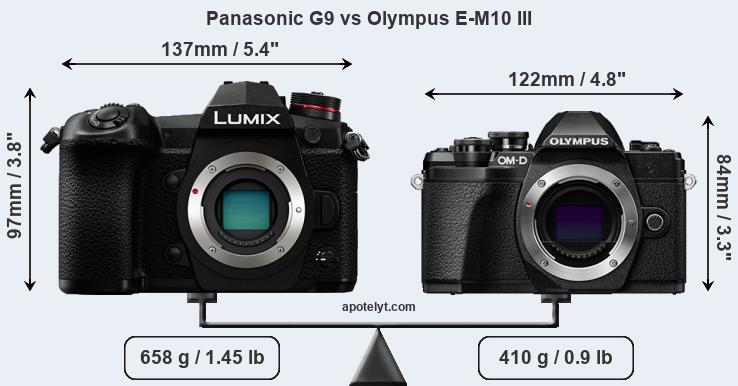 Compare Panasonic G9 and Olympus E-M10 III