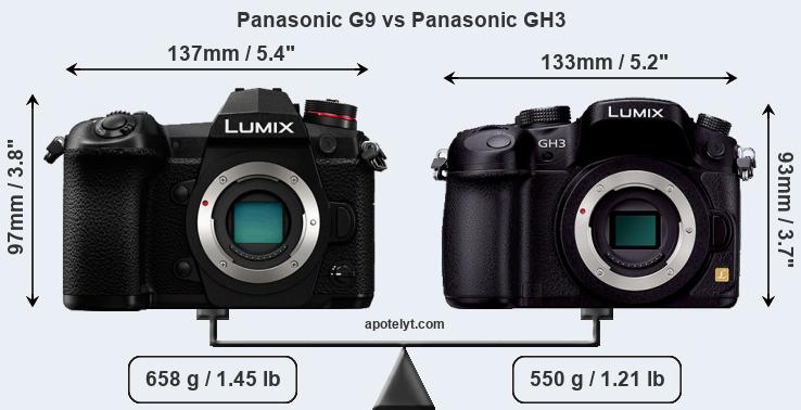 Size Panasonic G9 vs Panasonic GH3