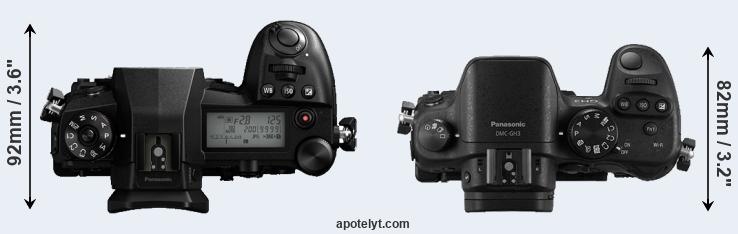 G9 versus GH3 top view