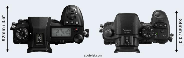 G9 versus GH4 top view