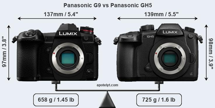 Size Panasonic G9 vs Panasonic GH5