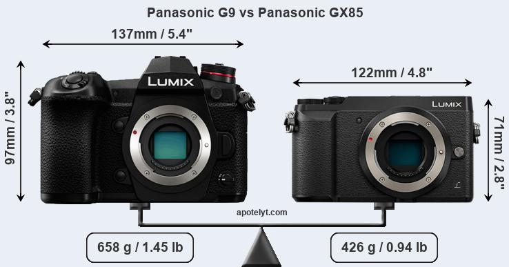 Size Panasonic G9 vs Panasonic GX85