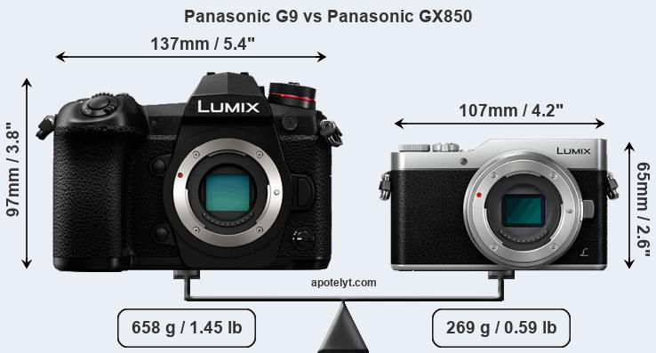 Size Panasonic G9 vs Panasonic GX850