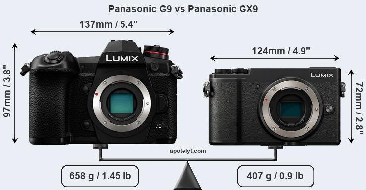Size Panasonic G9 vs Panasonic GX9