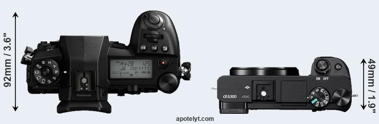 G9 versus A6300 top view