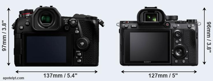 G9 and A7R III rear side