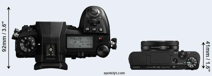 G9 versus RX100 V top view