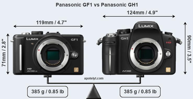 Size Panasonic GF1 vs Panasonic GH1