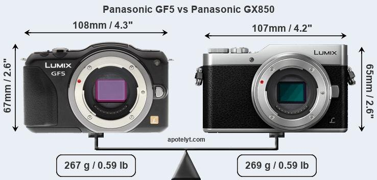 Size Panasonic GF5 vs Panasonic GX850