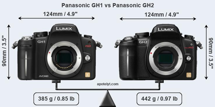 Size Panasonic GH1 vs Panasonic GH2