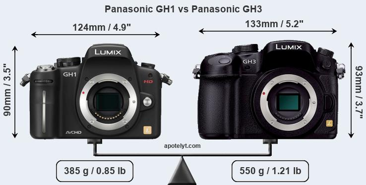 Size Panasonic GH1 vs Panasonic GH3