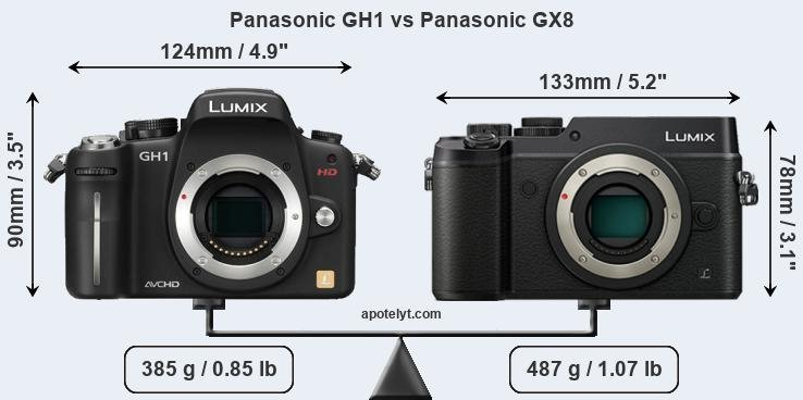 Size Panasonic GH1 vs Panasonic GX8