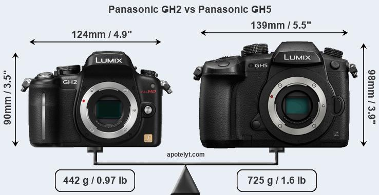 Size Panasonic GH2 vs Panasonic GH5