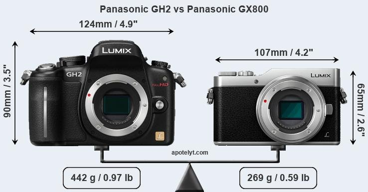 Size Panasonic GH2 vs Panasonic GX800