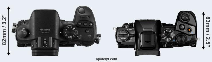 GH3 versus E-M1 top view