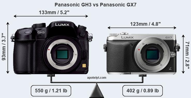 Size Panasonic GH3 vs Panasonic GX7