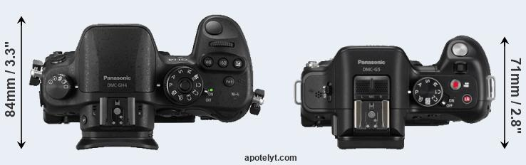 GH4 versus G5 top view