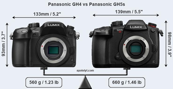 Size Panasonic GH4 vs Panasonic GH5s