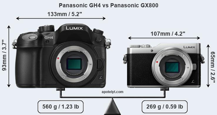Size Panasonic GH4 vs Panasonic GX800
