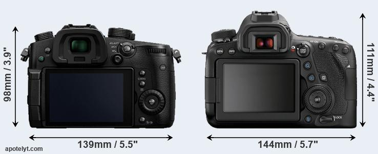 GH5 and 6D Mark II rear side