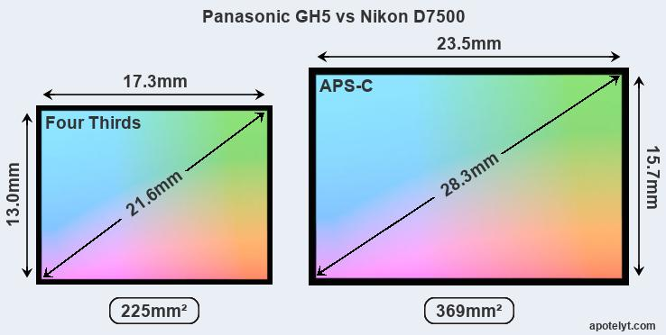 Panasonic GH5 and Nikon D7500 sensor measures